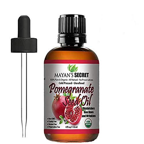 USDA Certified Organic Pomegranate Seed Oil for Skin Repair - Cold Pressed and Pure Rejuvenating Oil for Skin, Hair and Nails