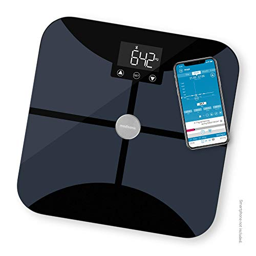 Medisana BS 652 Körperanalysewaage bis 180 kg mit W-LAN oder Bluetooth, Personenwaage zur Messung von Körperfett, Körperwasser, Muskelmasse und Knochengewicht mit VitaDock+ Körperanalyse App, 40502