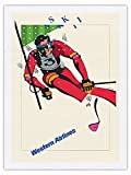 Pacifica Island Art Esquí - Esquí de Slalom - Western Airlines - Póster Viaje Línea aérea de Don Weller c.1970 - Impresión de Arte Seda Pura Tela 61x81cm