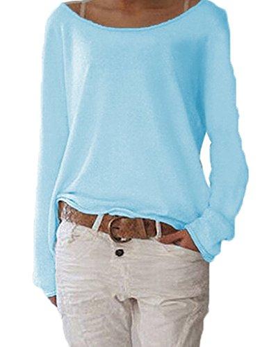 ZIOOER Damen Pulli Langarm T-Shirt Rundhals Ausschnitt Lose Bluse Langarmshirts Hemd Pullover Sweatshirt Oberteil Tops Shirts B Cyan L