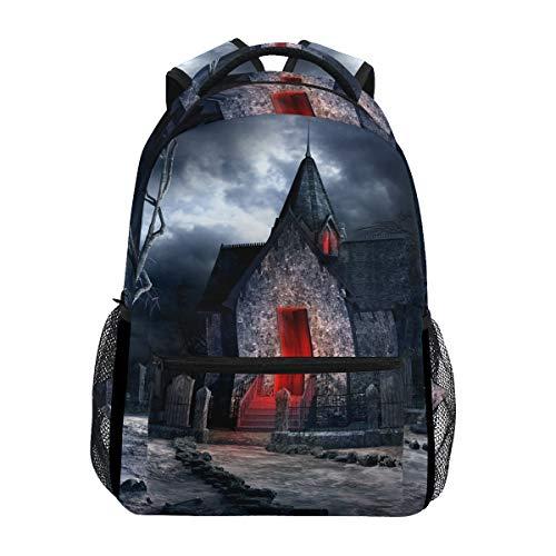 Mochila escolar casual de Halloween, cripta velha, leve, para viagem, faculdade, bolsa de ombro para mulheres, meninas e adolescentes