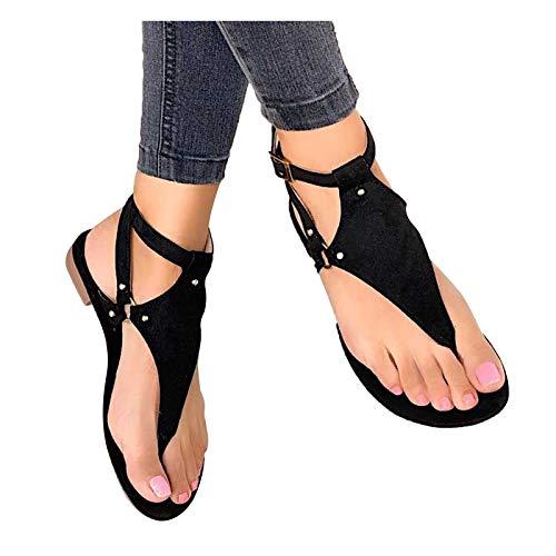 Sandales Femme, Mode Femmes Sandales Plates T-Sangle Comfy Semi Trailer Sandales Chaussures Plage Tongs Pantoufles, Sandales Plates Décontractées à Bride à la Cheville pour Femmes
