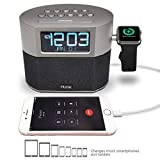8. iHome Bluetooth Dual Alarm FM Clock Radio with Speakerphone, Apple Watch Charging and USB Charging