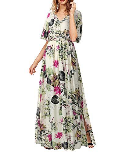 SUNNYME Vestido largo de verano con cuello en V para mujer, de manga corta, floral, para vocación