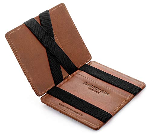 JAIMIE JACOBS Flap Boy Slim - das Original - Magic Wallet Magischer Geldbeutel Dünn Schmale Geldbörse Herren RFID Schutz Geldklammer Klein Slim Wallet Geschenk Echtleder (04 Dunkelbraun)