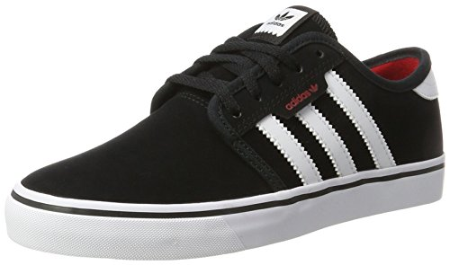 adidas Unisex-Kinder Seeley Skateboardschuhe, Schwarz (Core Black/Footwear White/Scarlet), 34 EU