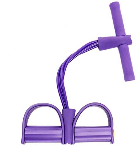 Fitness 4 Röhren Sit-up Pull Seilübungsgeräte Pedal-Widerstand-Band Elastische Spannseil for Home Gym Yoga Workout Multifunktions-Pedal Arm-Bein-Trainer Bauchmuskeltraining (Color : Purple)