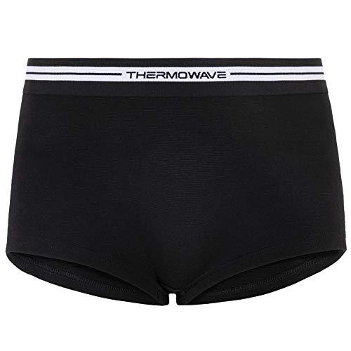 Thermowave Merino Life – Ropa interior para mujer de lana merino, pantalones cortos 150 g/m², elásticos y cómodos, antiolor, boxer deportivo para mujeres Negro XS