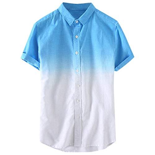 Mens Beach Blouse Short Sleeve Shirts Summer Button-Down Blouse Tops Gradient Color Casual T Shirts 3XL Tees Tops (Blue, M)