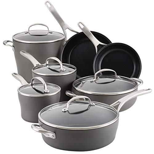 Anolon Allure Hard Anodized Nonstick Cookware Pots and Pans Set, 12 Piece, Dark Gray
