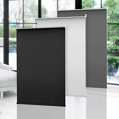 OBdeco Verdunkelungsrollo Thermorollo ohne Bohren Silberbeschichtung Sichtschutz Sonnenschutz Klemmfix für Fenster (70x160cm(Stoffbreite:ca.66cm), Grau)