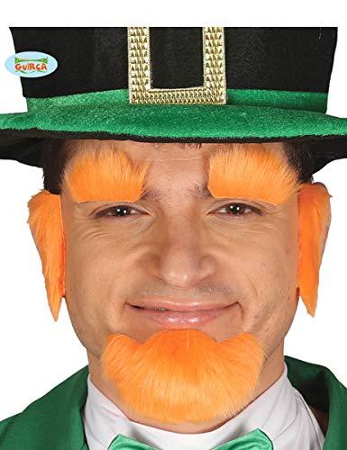 Guirca orangener Bart St. Patrick Day Kobold für Herren Karneval Fasching