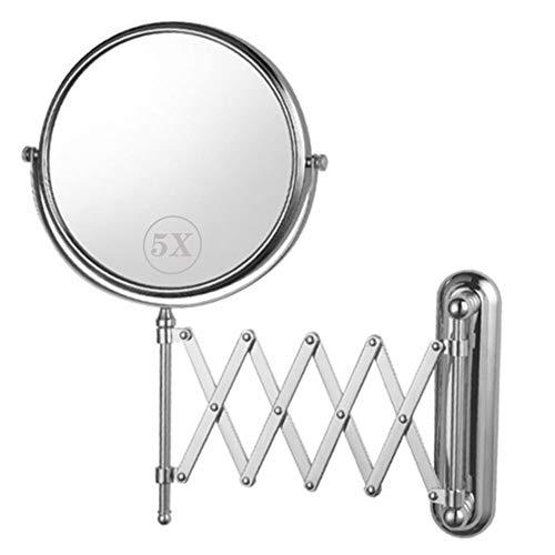 MRJ Wandspiegel Teleskop, Rasierspiegel, Silbern, Rostfreier Edelstahl, 5fach Vergrösserung, Schwenkbar Ausziehbar Wand-Kosmetik-Spiegel