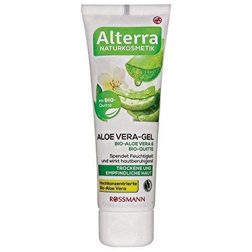 Alterra Aloe Vera-Gel Bio-Aloe Vera & Bio-Quitte 50 ml für trockene & empfindliche Haut, mit Bio-Quitte, spendet Feuchtigkeit & wirkt hautberuhigend, zertifizierte Naturkosmetik, vegan