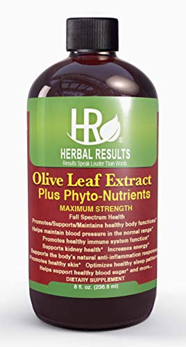 Herbal Results Olive Leaf Extract Plus with Phytonutrients-Multiple Health Remedies-Max Strength 8 Ounce Liquid