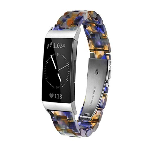Ayeger Resin Band Compatible with Fitbit Charge 4,Charge 3/3 SE,Women Men Resin Accessory Silver Buckle Band Wristband Strap Blacelet for Fitbit Charge 4,3/3 SE Smart Watch Fitness(Blue)