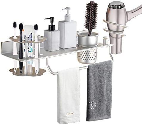 PowMax Wall Mount Bathroom Organizer Hanging Rack Towel Shelf Toothbrush Storage for Hair Dryer product image