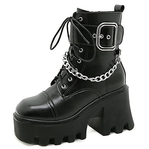 MeiLuSi Botas de plataforma goth para mujer con tacón grueso con cordones hasta el tobillo botines de moda cadena punk motocicleta botas, 7 Negro, 35.5 EU