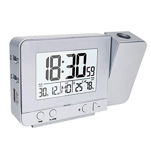 OurLeeme Relojes de Proyección, Despertador Proyector, Relojes de Alarma Proyección Alarma Dual, Función de Repetición, 12/24 Horas, Fecha, Temperatura de Humedad en Interiores (Plateado)