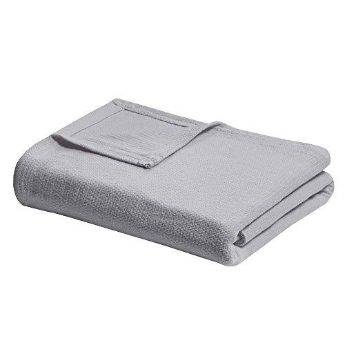Madison Park Freshspun Basketweave Luxury Cotton Blanket Grey 108x90 King Size Basketweave Premium Soft Cozy 100% Cotton For Bed, Couch or Sofa