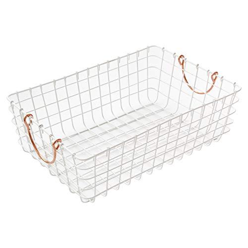 WM Homebase Aufbewahrungskorb aus Metall Metallkorb Aufbewahrungsbox Drahtkorb mit Griffen Weiß 43x30x15CM