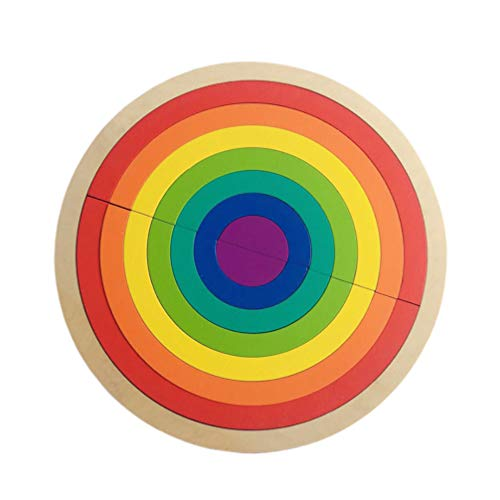 Toyvian 1 Juego de Apilamiento de Arco Iris de Madera Juego de Aprendizaje de Geometría de Juguete Bloques de Construcción Juguetes Educativos para Niños Bebés