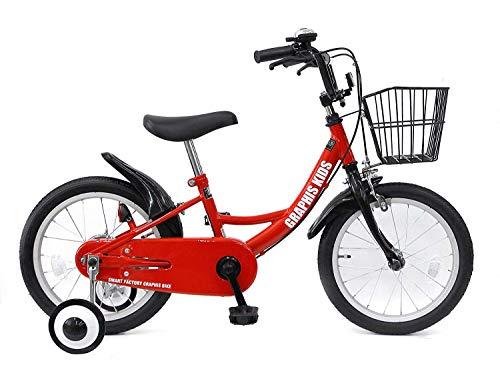 GRAPHIS(グラフィス) 補助輪付き子供用自転車 GR-16 18インチ/レッドブラック