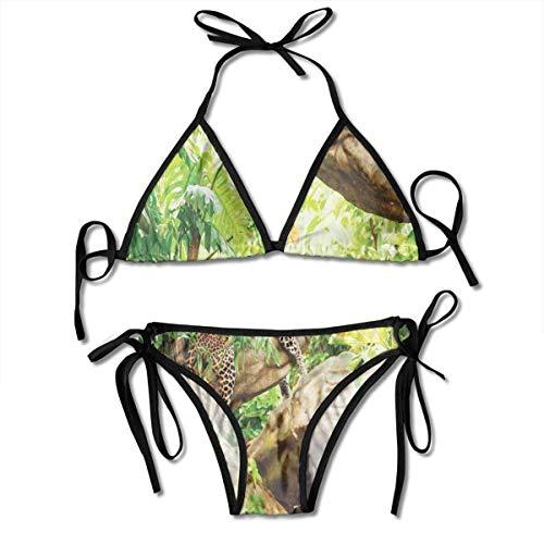 huatongxin Verstellbares Bikini-Set Halter Ladies Swimming Costume, Leopard On The Branch in Savannah Exotic Macro Tropical Leaf Jungle Wild Nature Art,Halter Beach Badebekleidung
