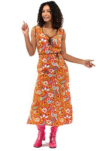 Original Replicas Langes Kleid 60er Jahre Hippie Soul Disco Paisley Flower Power - 70 Jahre Party Kostüm Frauen XL - XS bis 3XL