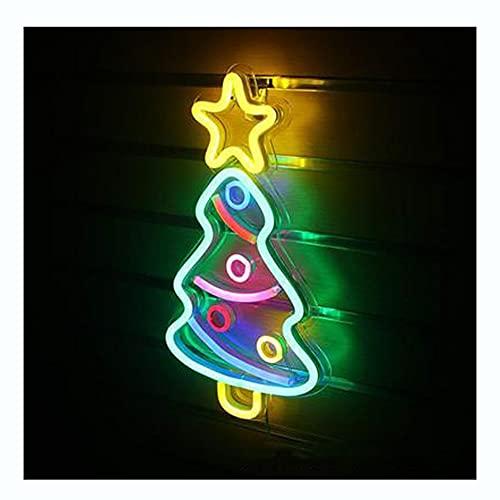 DEWUFAFA Lindo árbol de Navidad LED Neón Color Luz Noche Luz Luz de Chica Decoración Noche Luz Color Neon Mesa Lámpara Decoración Decoración Niña Cumpleaños Holiday Halloween Fiesta Suministros