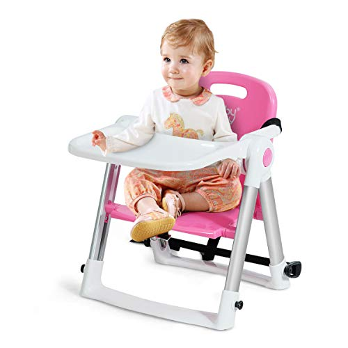 BABY JOY Travel Booster Seat with Tray for Baby, Folding Portable High Chair W/Safety Belt for Camping/Beach/Lawn, Dining Booster for Toddlers at Home and On-The-Go (Pink)