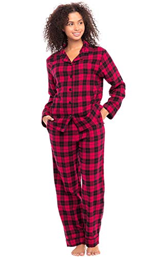 Alexander Del Rossa Women's Warm Flannel Pajama Set, Long Button Down Cotton Pjs, Large Red and Black Tartan Plaid (A0509Q42LG)