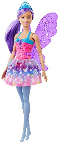 Barbie- Dreamtopia Muñeca Hada, Pelo Morado, alas y Corona