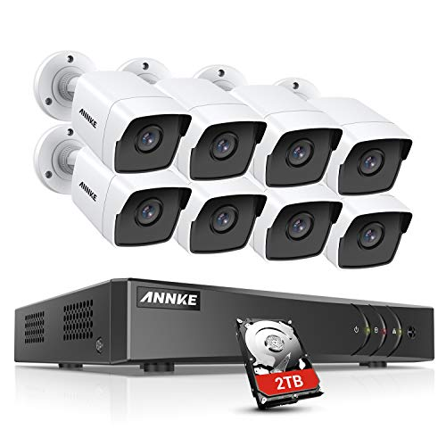 ANNKE 8CH 8 Camera Security System H.265+ DVR Recorder with 2TB HDD and 8X 5MP(2560TVL) IP67 Weatherproof Outdoor CCTV Bullet Cameras, 100ft Night Vision, Easy Remote Access and Email Alert-S500