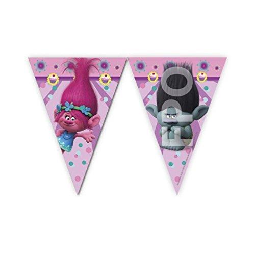 CAPRILO. Lote de 2 Guirnaldas Decorativos Infantiles Trolls 2,3 Metros Aproximadamente. Disney. Juguetes y Regalos Baratos para Fiestas de Cumpleaños, Bodas, Bautizos y Comuniones.