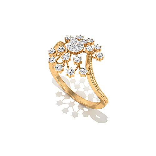 Anillo de compromiso de diamante certificado IGI con copos de nieve de 0,29 quilates, oro sólido de 14 quilates, anillos de boda de novia, 10K Oro blanco, Size:EU 52