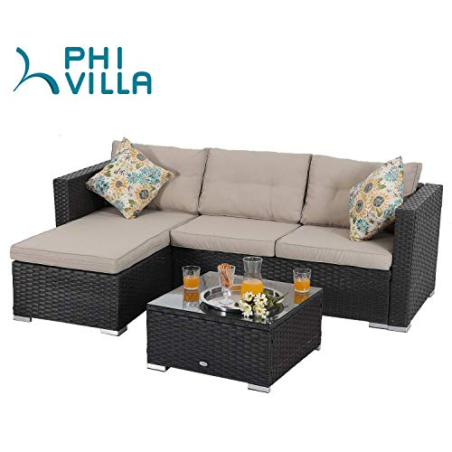 PHI VILLA Patio Sectional Wicker Rattan Small Outdoor Furniture Sofa Set with Upgrade Rattan (3 Piece,Blue)