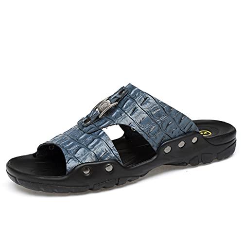 Sandalias de playa para hombre al aire libre, sandalias de cuero con punta abierta, sandalias deportivas, cómodas (color: azul, tamaño: 44)