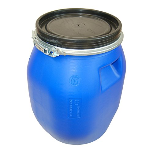 30 Liter Deckelfass mit Spannverschluss| Lebensmitteltauglich | Luftdicht Verschließbar | Stapelbar und Palettengerecht | Stabile Griffmulden | Blau