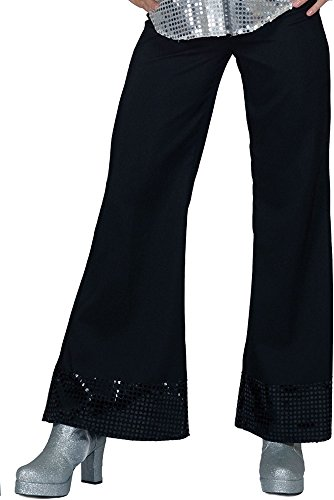 Schlaghose mit Pailletten für Damen - Schwarz Gr. 36 38 - Toll zum 70er 80er Jahre Retro Hippie Kostüm