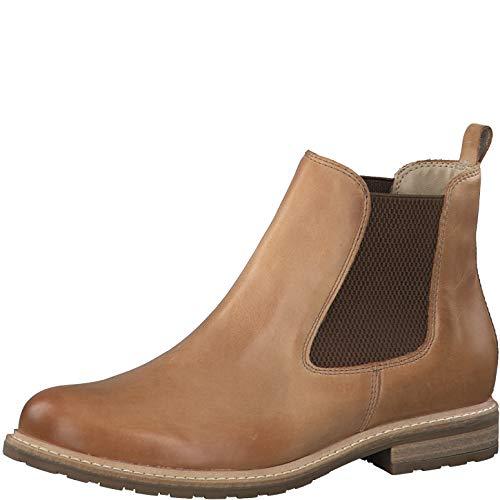 Tamaris Damen Stiefeletten, Frauen Chelsea Boots, geschäftlich Stiefel halbstiefel Bootie Schlupfstiefel flach weiblich Lady,Camel,39 EU / 5.5 UK