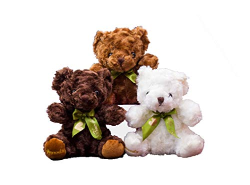 NewAnimeJp Teddy Bear Plush - Cute Teddy Bears Sit Stuffed Animals in 3 Colors - 3-Pack of Stuffed Bears - 7.1 Inch Height for Toddler and Girls