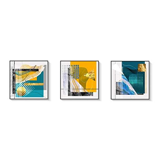 Wall Art poster en prints abstract gouden folie foto's woonkamer groen oranje kleur decor canvas schilderij-40x40cm (15.7