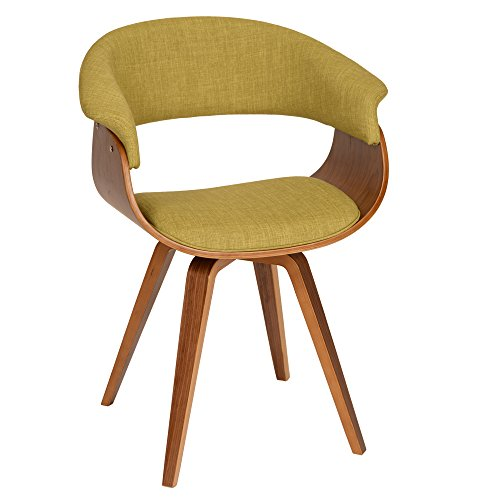 Armen Living Summer Chair in Green Fabric and Walnut Wood Finish