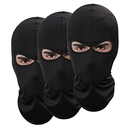 Pack of 3 Outdoor Sport Thin Ski Mask Fishing Hunting Hat Men Headgear Sun Balaclava Motorcycle Face Mask (Black)