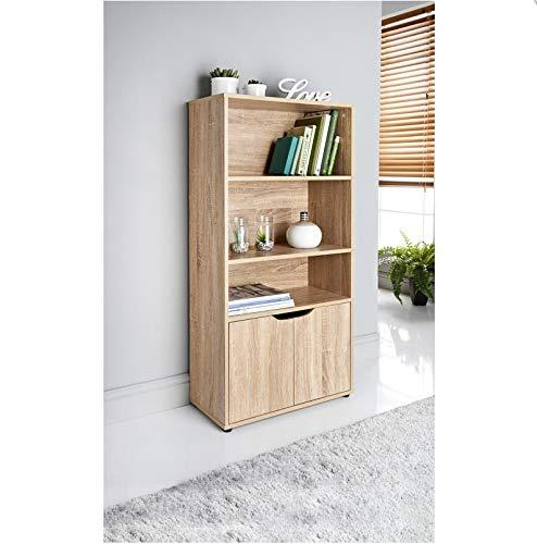 Saxony Oak 3 Shelves 2 Door Bookcase Storage Unit Display Cabinet Home Living Room Furniture