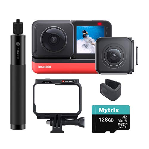 Insta360 ONE R Sport Action Video Camera Bundle: 4K Wide Angle Lens, 5.7K Dual-Lens, Invisible Selfie Stick, Stabilization Waterproof Voice Control Touch Display, Mytrix 128GB U3 SD Card