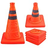 Faswin 4 Pack 15.5 Inch Collapsible Traffic Cones Safety Road Parking Cone Driving Construction Cones with Reflective Strips Collar, Orange