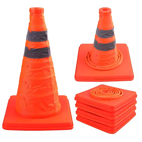 Faswin 4 Pack 15.5 Inch Collapsible Traffic ConesSafety Road Parking Cone Driving Construction Cones with Reflective Strips Collar, Orange