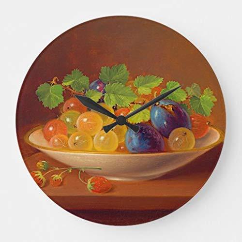 onepicebest - Reloj de pared (38 cm), diseño de frutas en tazón, reloj grande de madera para sala de estar, decoración del hogar